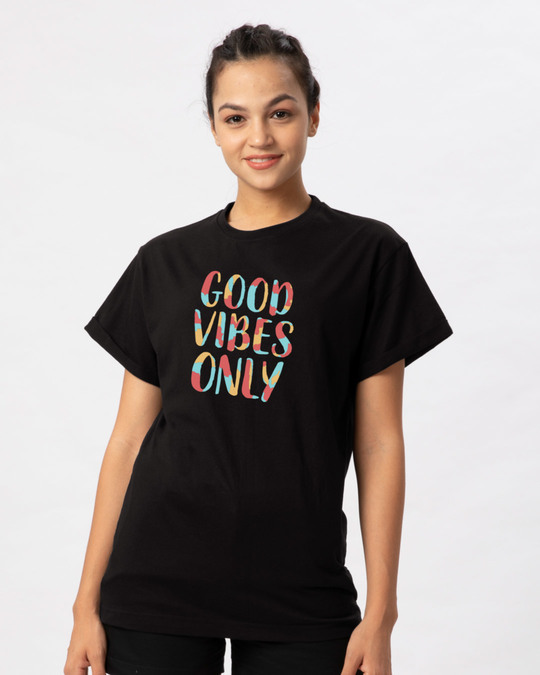 Shop Goods Vibes Only Boyfriend T-Shirt-Front