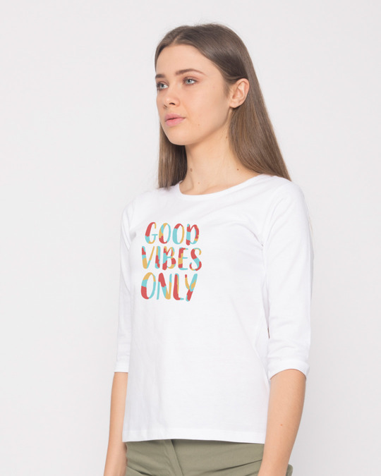 Shop Goods Vibes Only Round Neck 3/4th Sleeve T-Shirt-Back