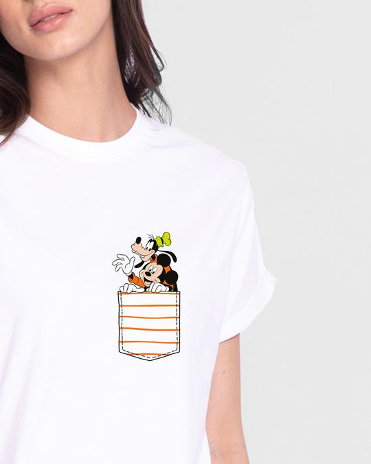 Shop Goofy Mickey Pocket Boyfriend T-Shirt (DL) White-Front