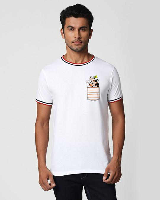 Shop Goofy Mickey Pocket Varsity Rib Half Sleeve T-Shirt-Front
