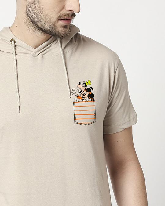 Shop Goofy Mickey Pocket Half Sleeve Hoodie T-shirt-Front