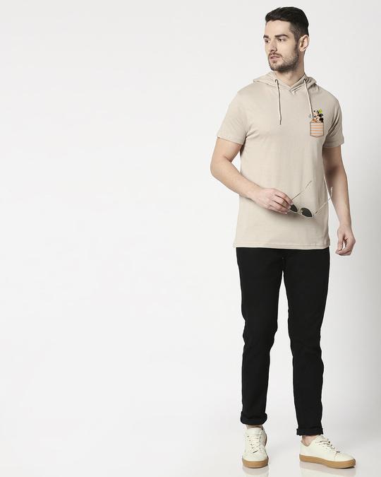 Shop Goofy Mickey Pocket Half Sleeve Hoodie T-shirt