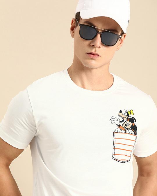 Shop Goofy Mickey Pocket Half Sleeve T-Shirt (DL) White-Front