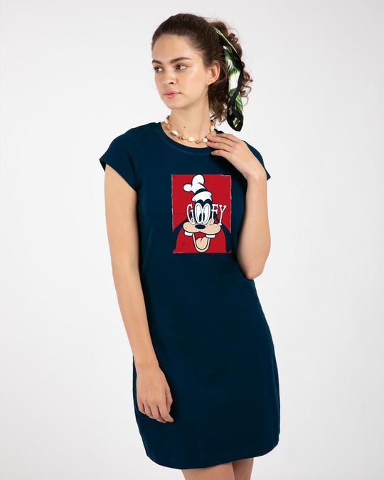 Shop Goofy Poster Cap Sleeve Printed T-Shirt Dress Navy Blue (DL)-Back