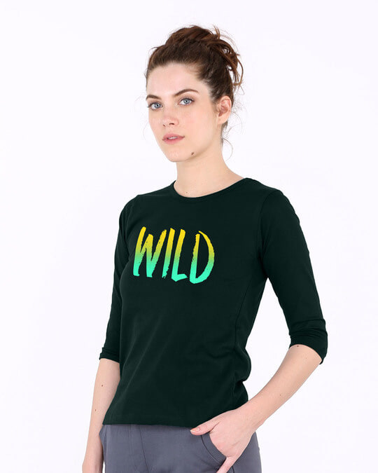Shop Gradient Wild Round Neck 3/4th Sleeve T-Shirt-Back