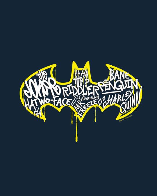 Shop Grafitti Batman Logo Full Sleeve T-Shirt Navy Blue (BML)-Full