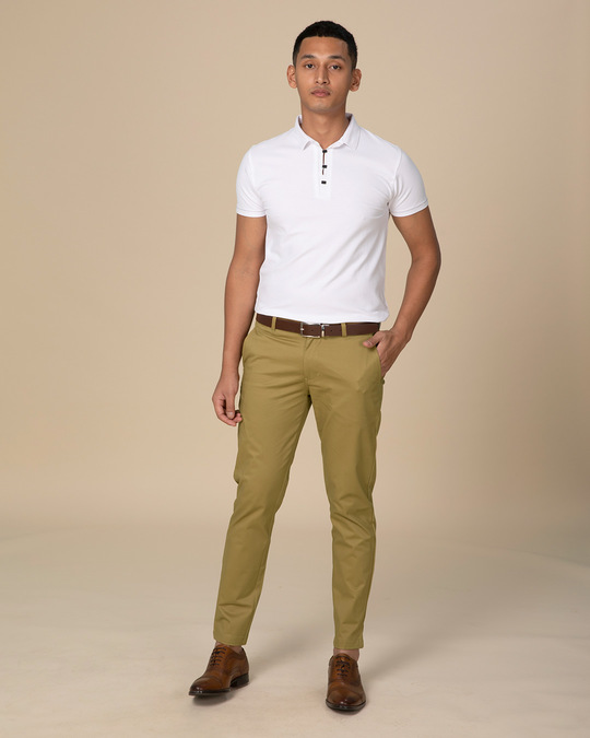 Shop Granola Khaki Slim Fit Cotton Chino Pants