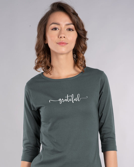 Shop Grateful Round Neck 3/4th Sleeve T-Shirt-Front