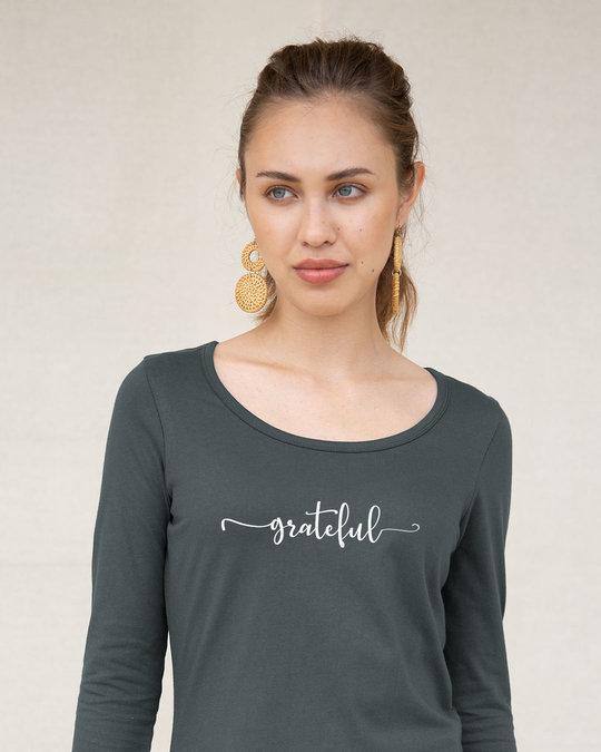 Shop Grateful Scoop Neck Full Sleeve T-Shirt-Front