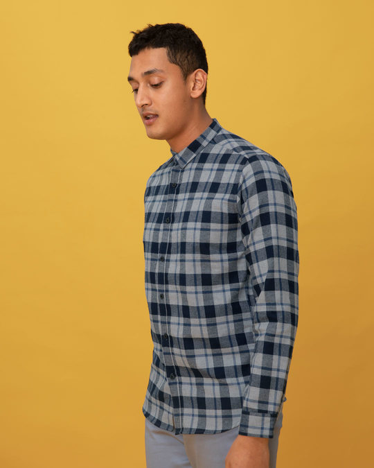 Shop Gravel Blue Checked Shirt-Back