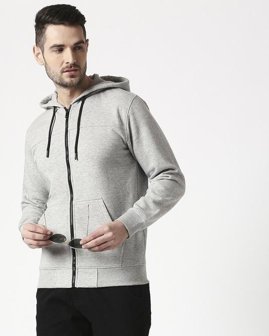 Shop Gray Melange Stylised Zipper Hoodie-Front