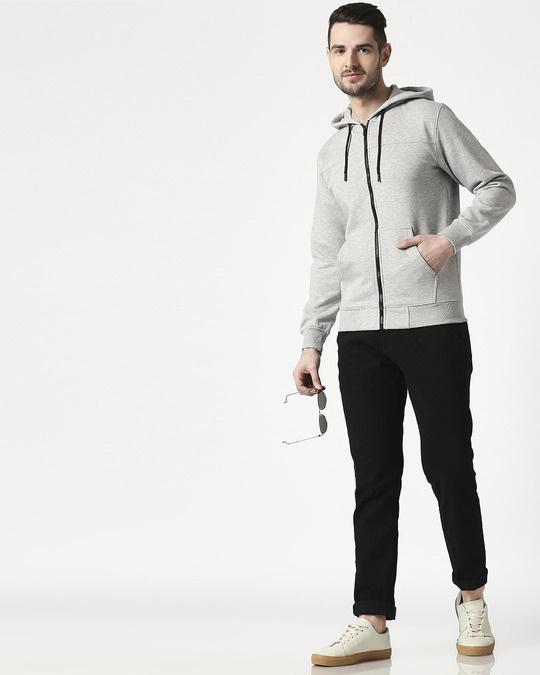 Shop Gray Melange Stylised Zipper Hoodie