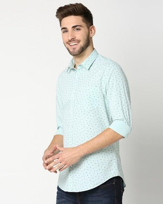 Shop Green Cotton Melange Shirt-Design