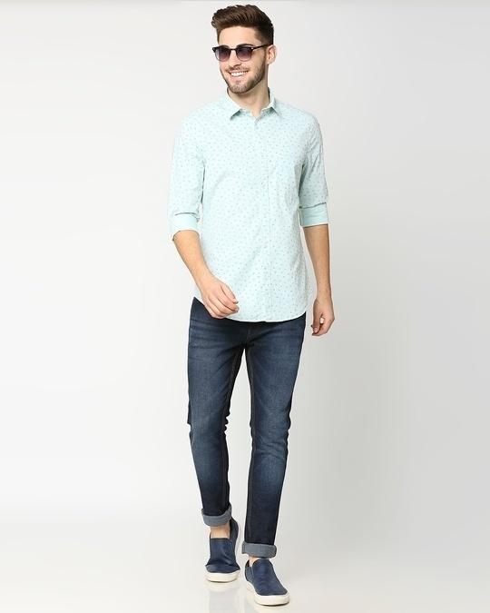 Shop Green Cotton Melange Shirt