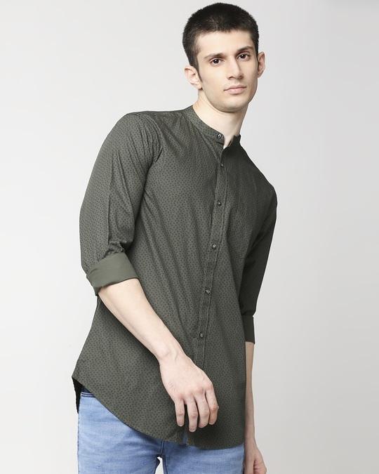 Shop Olive Madarin Collar Print Shirt-Back