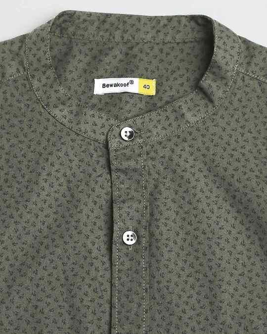 Shop Olive Madarin Collar Print Shirt