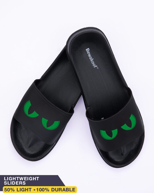 Shop Green Scary Eyes Men's Printed Sliders-Front
