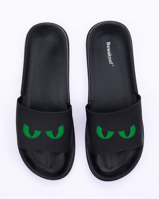 Shop Green Scary Eyes Men's Printed Sliders-Back