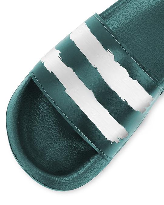 Shop Green White Strap Lightweight Men's Slider