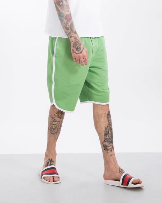 Shop Greenery-White Runner Fleece Shorts-Front