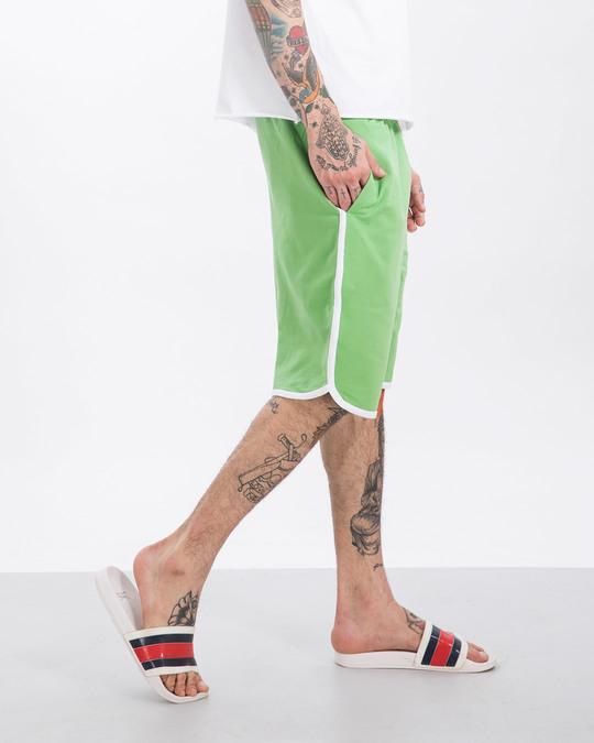 Shop Greenery-White Runner Fleece Shorts-Back