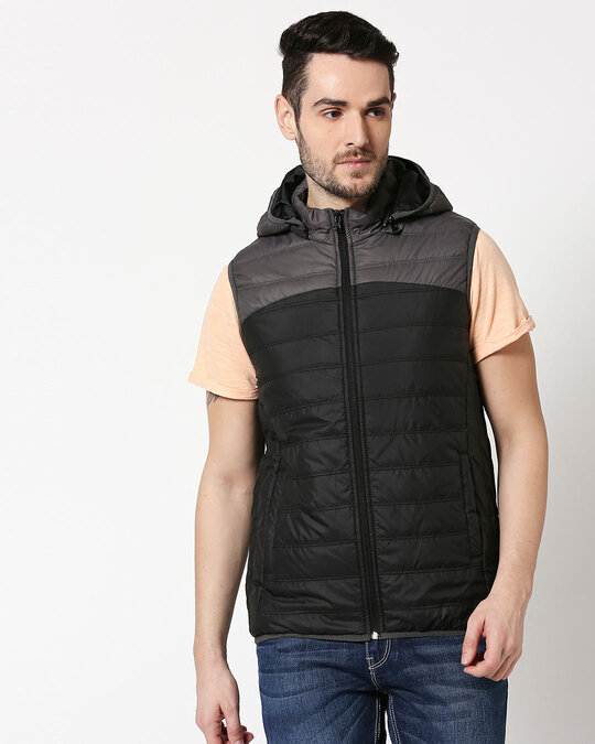 Shop Grey & Black Two Block Vest Puffer Jacket with Detachable Hoodie-Back