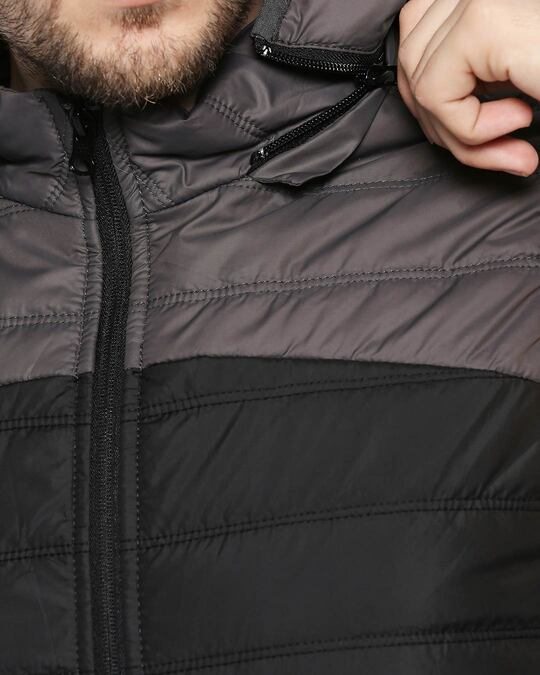 Shop Grey & Black Two Block Vest Puffer Jacket with Detachable Hoodie