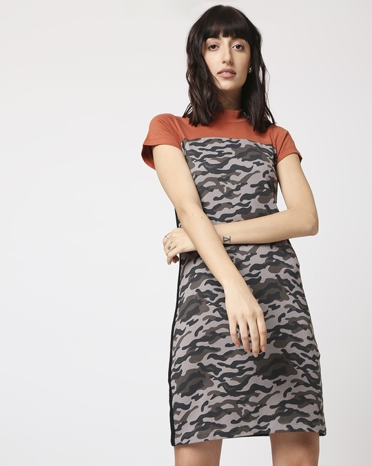 Shop Grey Camo - Baked Clay High Neck Pocket Dress-Back