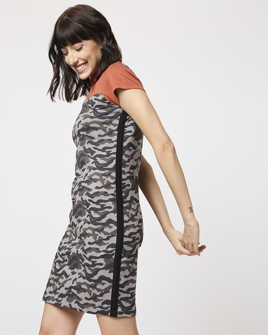 Shop Grey Camo - Baked Clay High Neck Pocket Dress-Design
