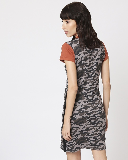 Shop Grey Camo - Baked Clay High Neck Pocket Dress-Full