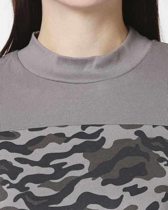 Shop Grey Camo - Frost Gray High Neck Pocket Dress