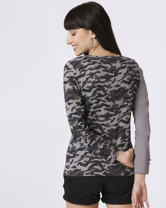 Shop Grey Camo - Frost Grey Full Sleeves Round Neck Colorblock Camo T-Shirt-Full