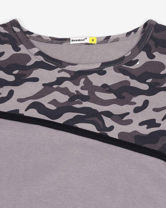 Shop Grey Camo - Frost Grey Full Sleeves Round Neck Colorblock Camo T-Shirt