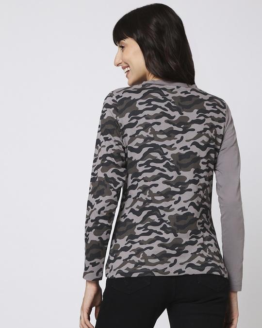 Shop Grey Camo - Frost Grey Full Sleeves V Neck Colorblock Camo T-Shirt