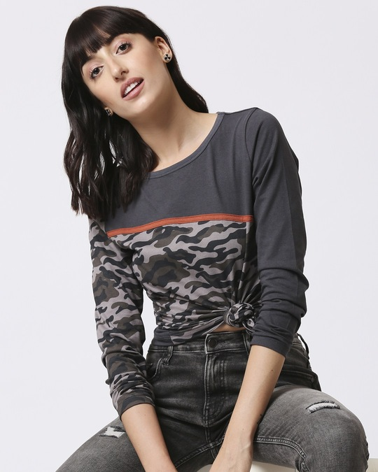 Shop Grey Camo - Iron Gate Full Sleeves Round Neck Colorblock Camo T-Shirt-Front