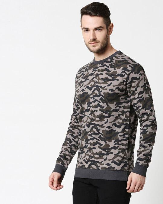 Shop Grey Camo Crewneck Camo Sweatshirt-Design