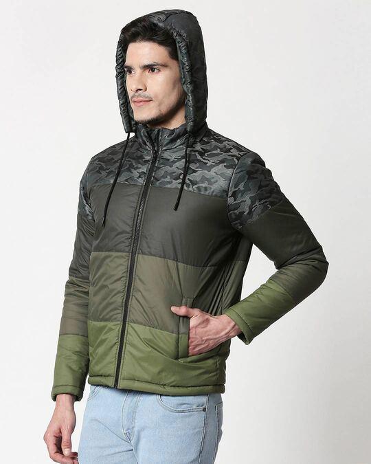 Shop Grey Camo Four Block Puffer Jacket with Detachable Hood-Design