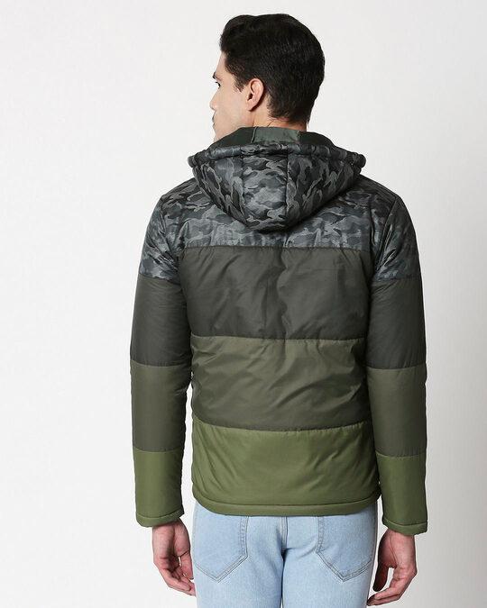 Shop Grey Camo Four Block Puffer Jacket with Detachable Hood-Full