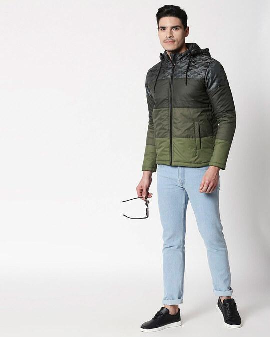 Shop Grey Camo Four Block Puffer Jacket with Detachable Hood