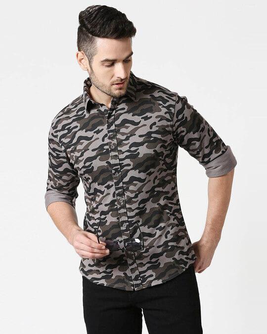 Shop Grey Camo Full Sleeve Camo Shirt-Front
