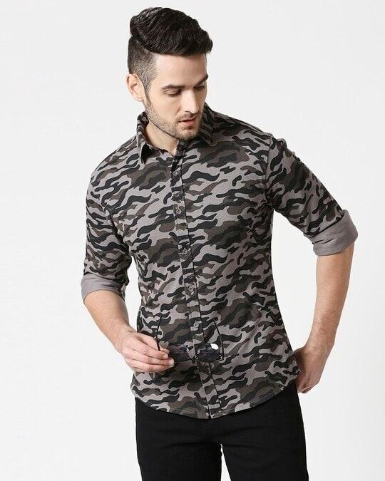 Shop Grey Camo Full Sleeve Camo Shirt