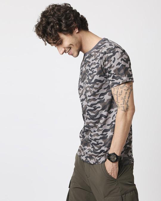Shop Grey Camo Half Sleeve Camo T-Shirt-Design