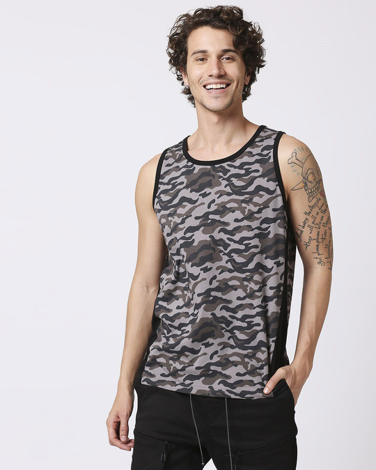 Shop Grey Camo Round Neck Camo Vest-Back