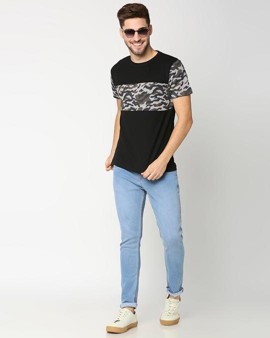 Shop Grey Camo Sleeve Color Block Camo T-Shirt