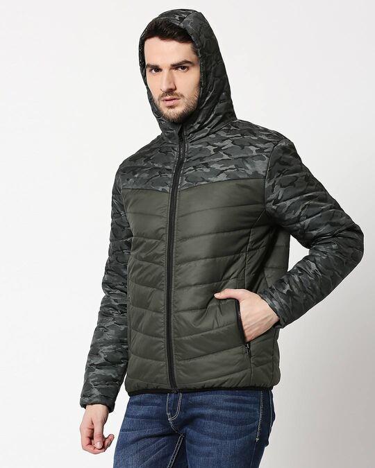 Shop Grey Camo Two Block Puffer Jacket-Full