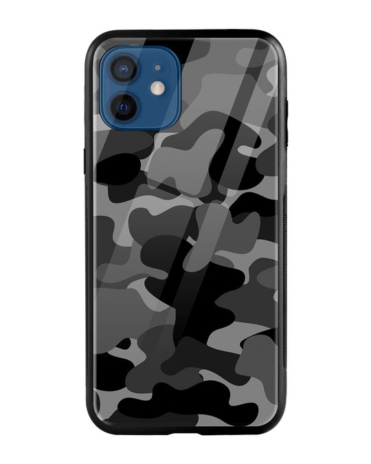 Shop Grey Camouflage iPhone 12 Mobile Cover-Front