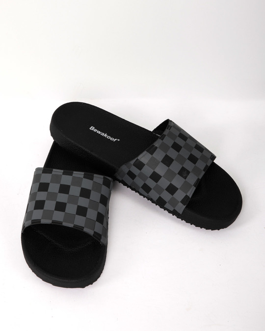 Shop Grey Check Sliders-Front