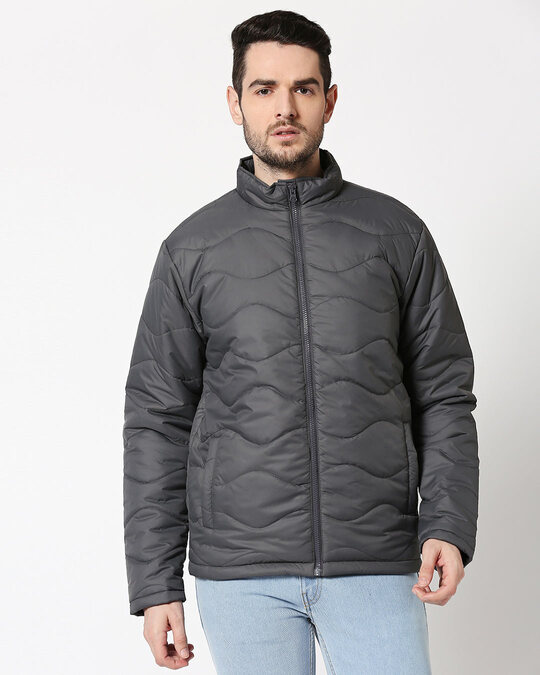 Shop Grey Chill Block Wave Puffer Jacket-Front
