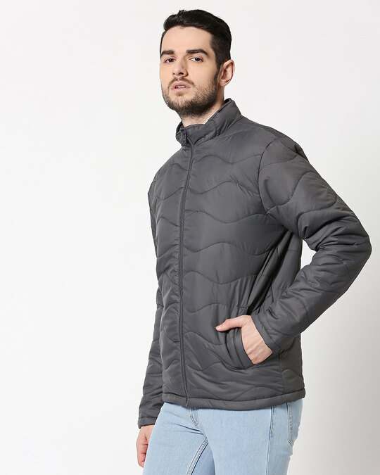 Shop Grey Chill Block Wave Puffer Jacket-Design