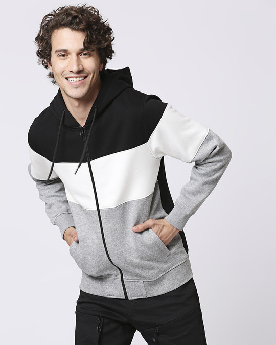 Shop Black Color Block Zipper Hoodie-Front